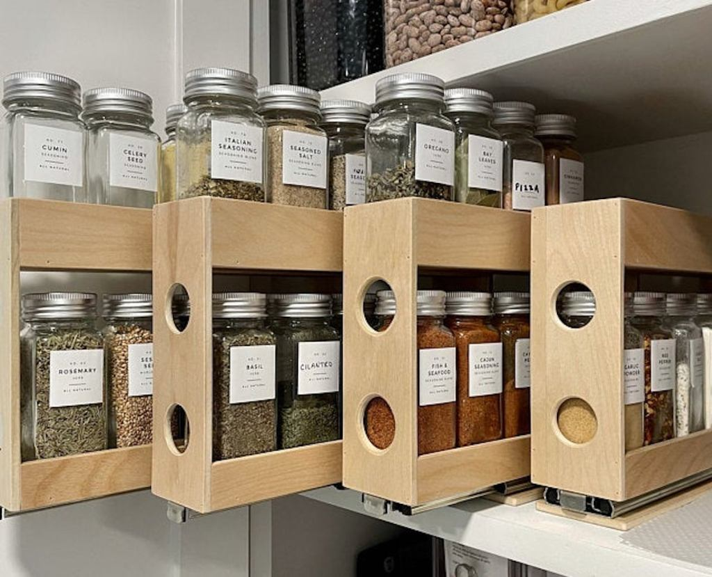 wooden pantry spice and food pantry organizer ideas