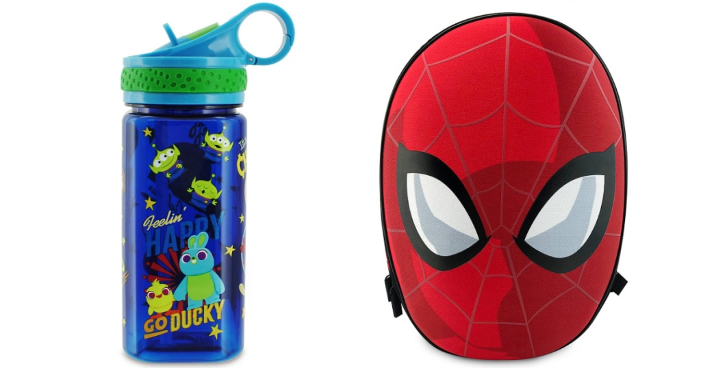 spiderman backpack and ty story water bottle