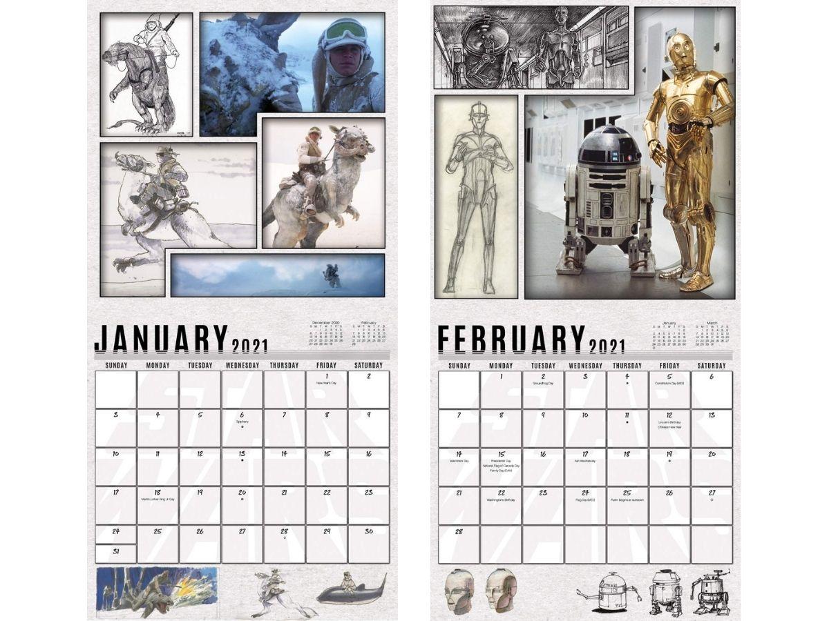 January and February star wars calendars