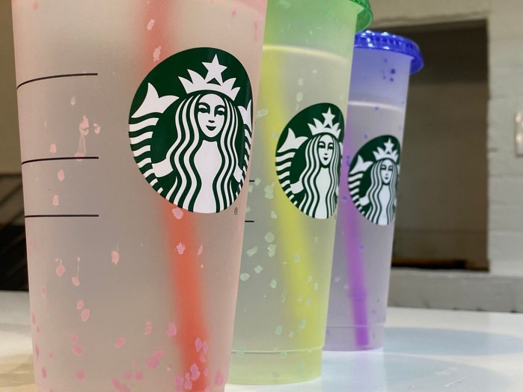 Personalized Starbucks Confetti Reusable Tumblers Color Changing Cold Cup Floral Design Personalized with Name