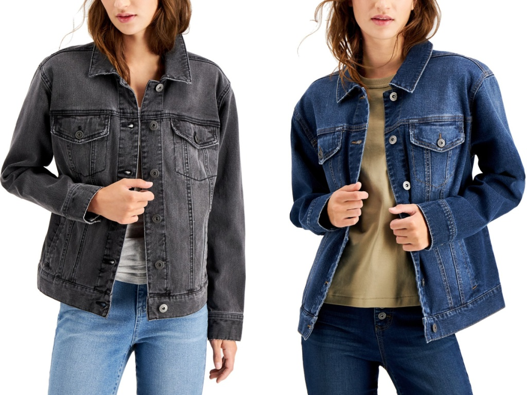 two women wearing black and blue colored style and co denim jacket