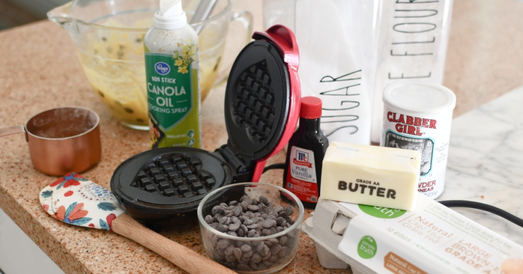 supplies to make chocolate chip cookie waffles