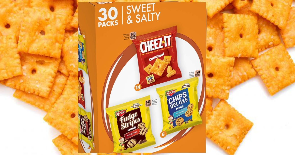 30 pack keebler variety pack box overtop of an enlarged image of loose cheez it crackers