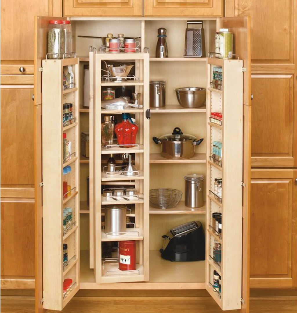 wood kitchen cabinets with swing out pantry and food inside