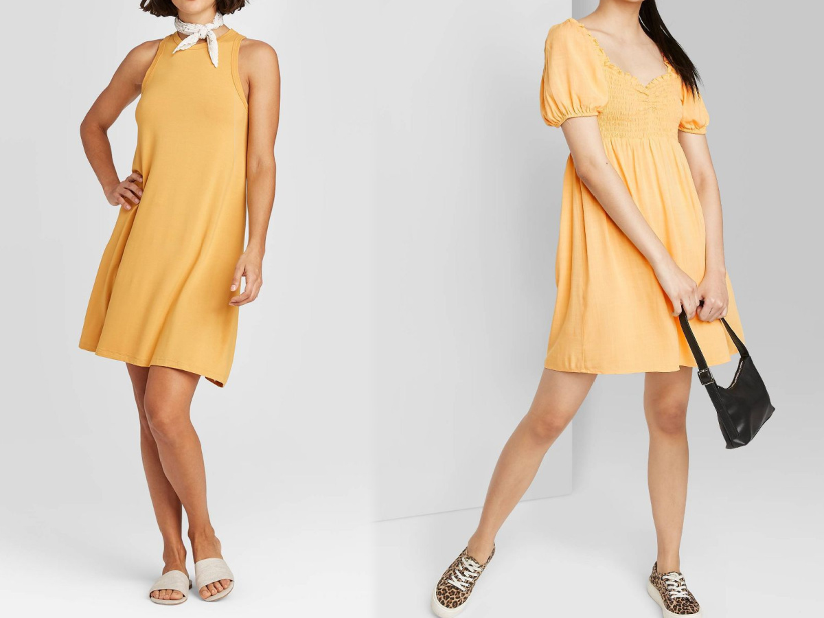 women wearing yellow dresses
