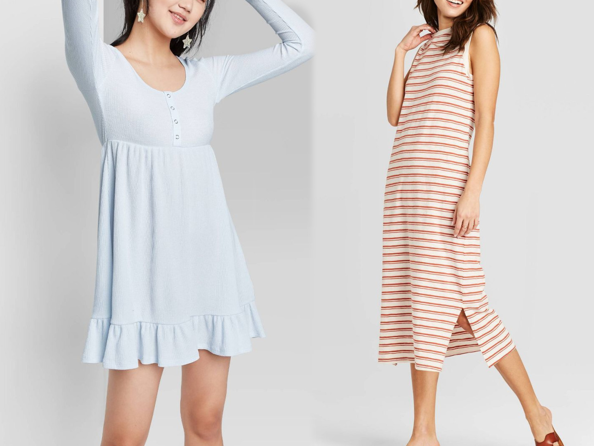 women wearing blue dress and striped dress