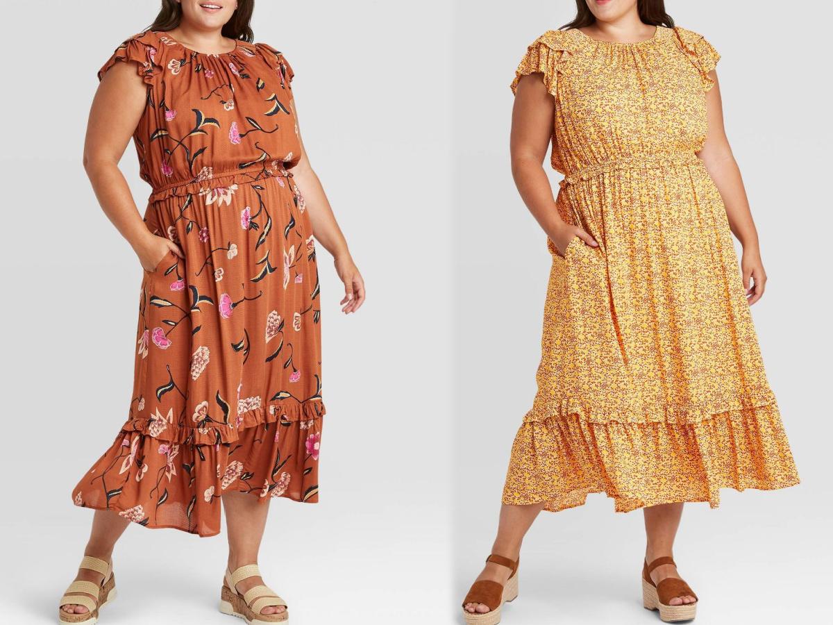 women wearing flowery dresses