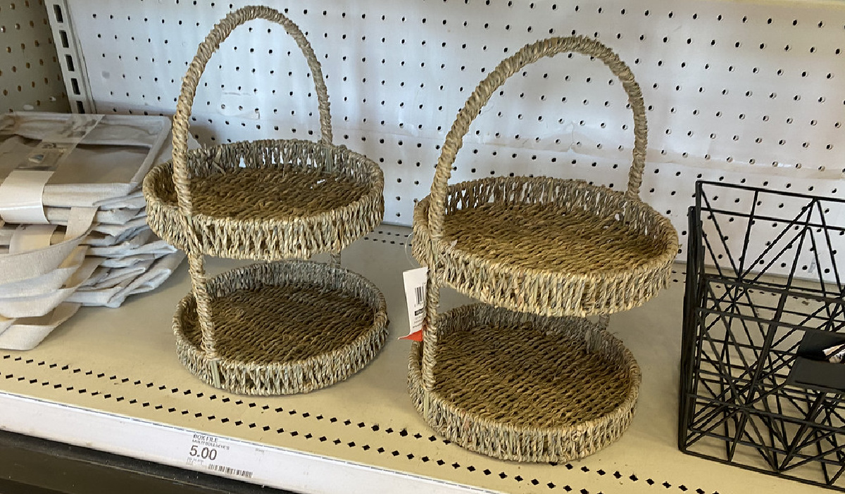 two woven two tier trays on a store shelf