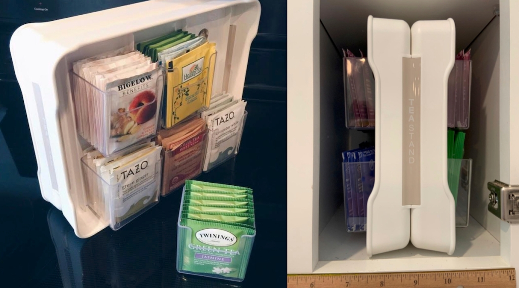 white plastic tea bag pantry organization ideas with tea bags and inside of cabinet
