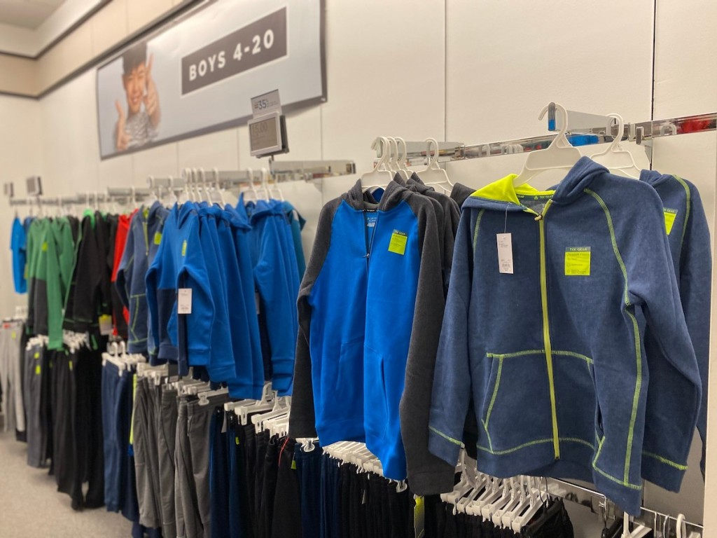 aisle of boys workout clothing at kohls