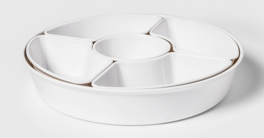 threshold sectioned serving tray white