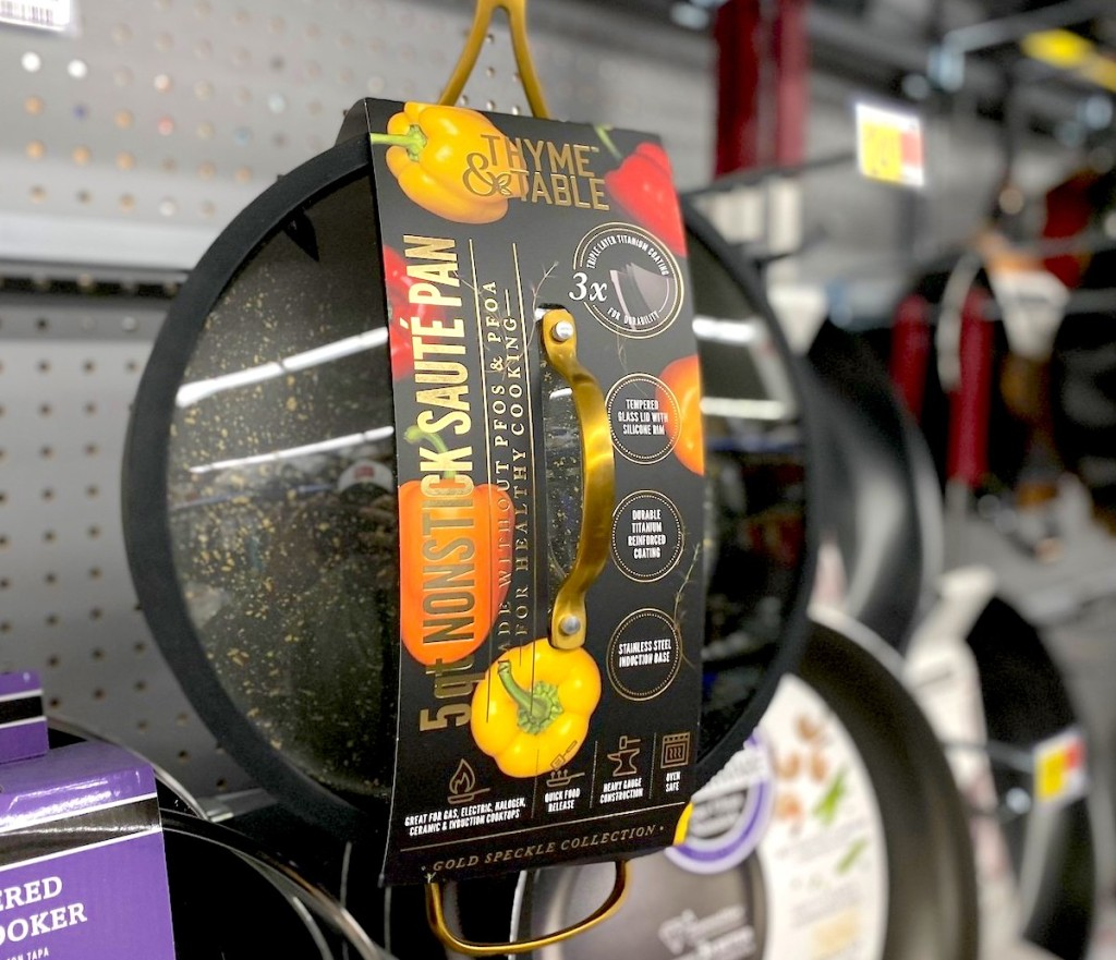 non stick thyme and table pan in packaging hanging on store shelf