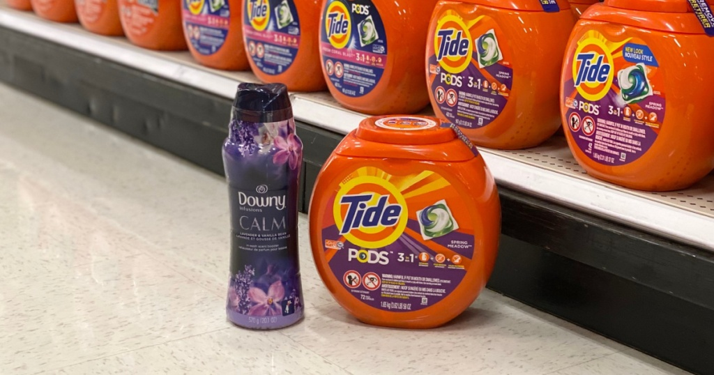 tide pods and unstopables on floor at store