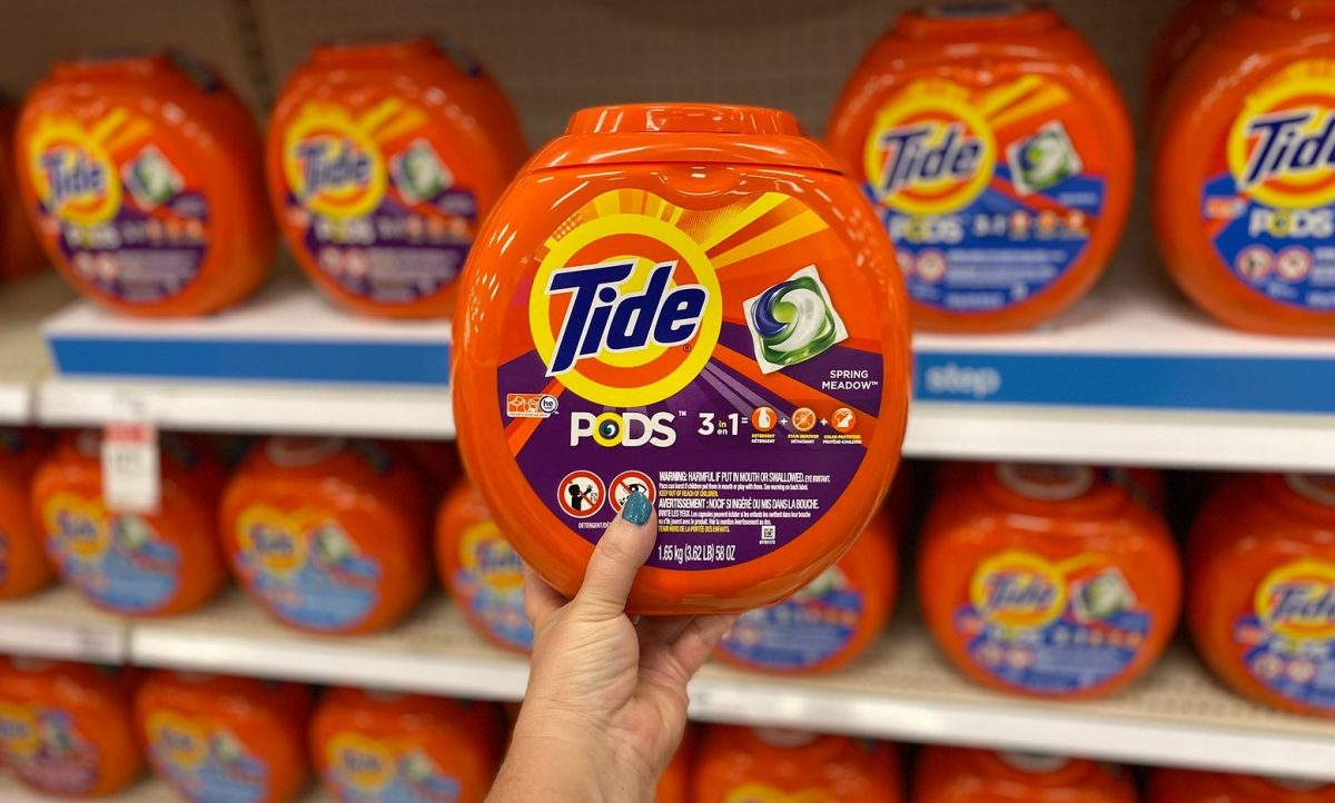 tide pods in hand in store at target