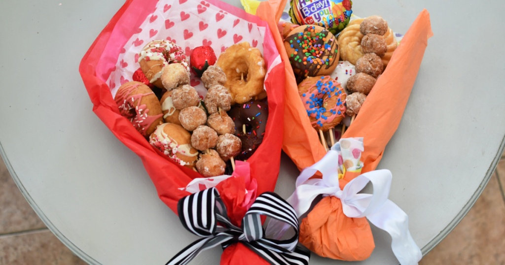 donut bouquets on the table