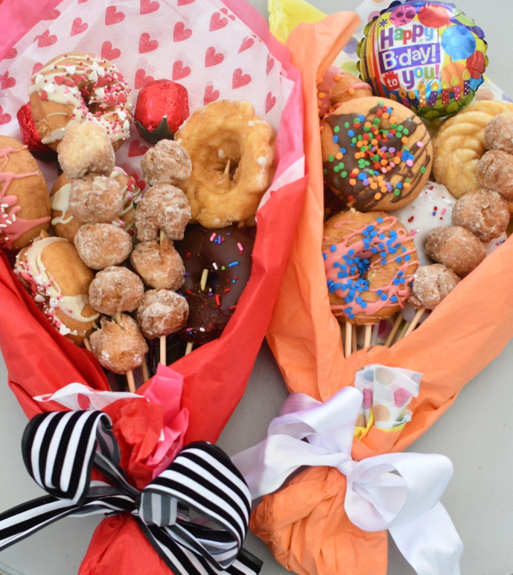 two finished donut bouquets