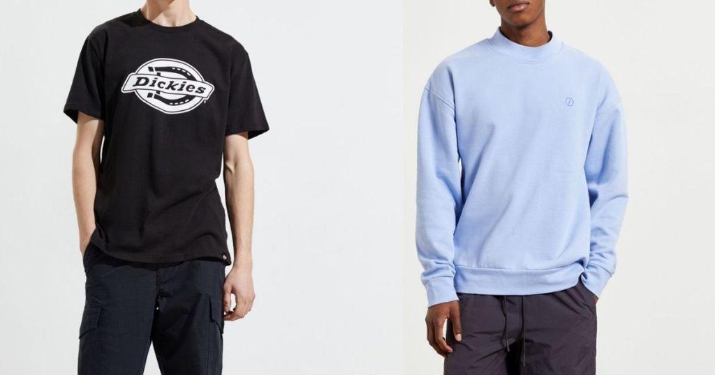 man wearing Dickies tee and man wearing blue sweatshirt