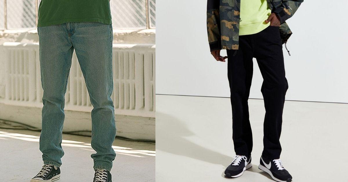 men wearing denim and black jeans