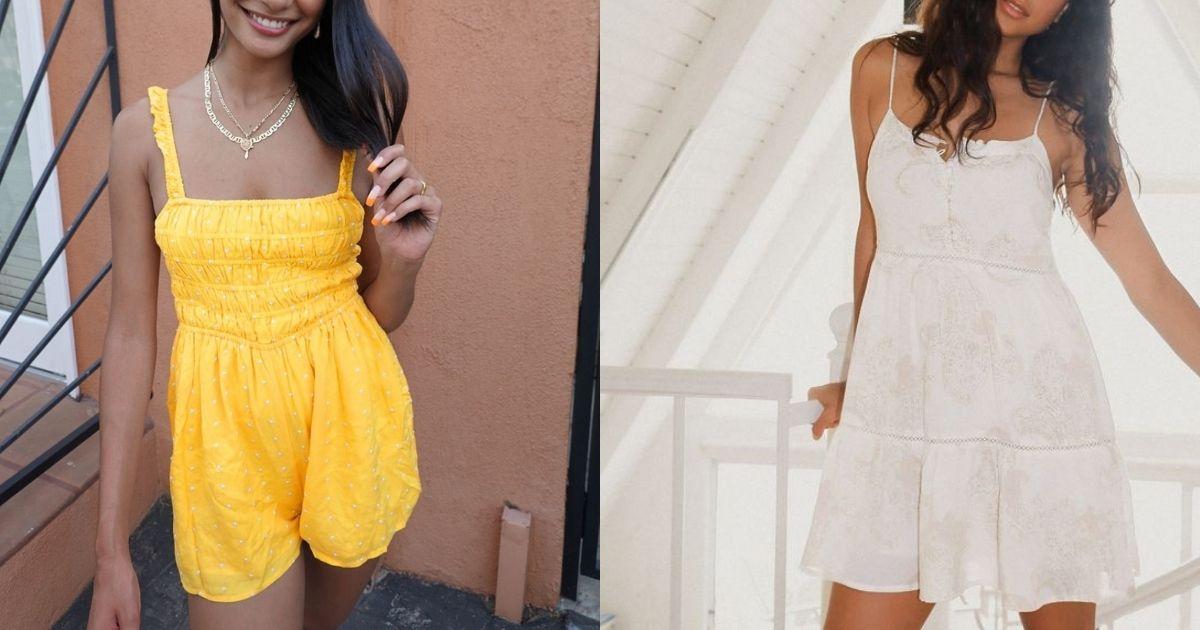 women wearing yellow romper and white dress