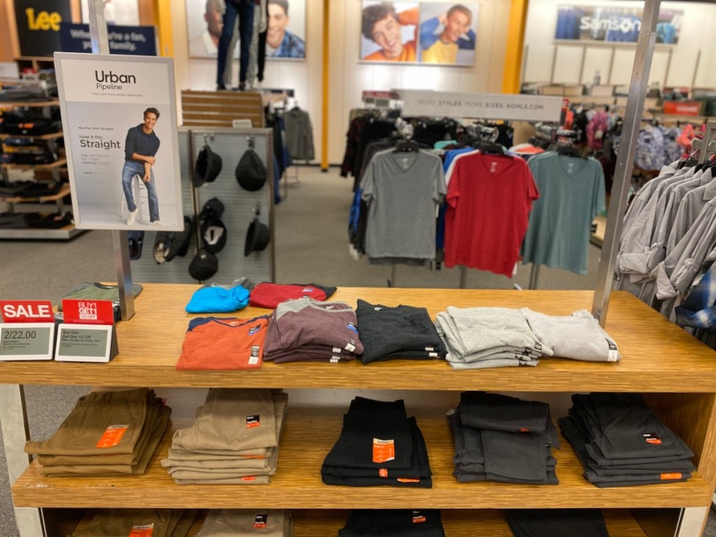 urban pipeline clothing aisle at kohls store