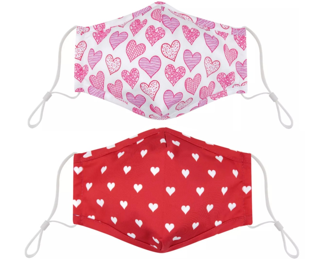 two valentines day face masks