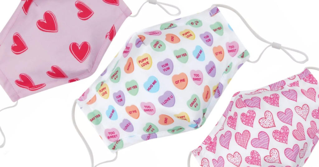 three valentines day heart masks