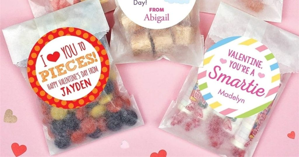 clear bags filled with treats with personalized sticker