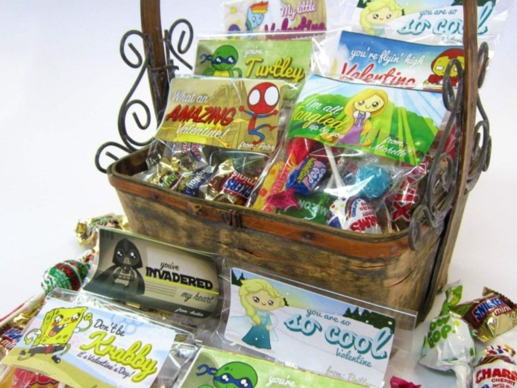 basket filled with personalized bags of treats