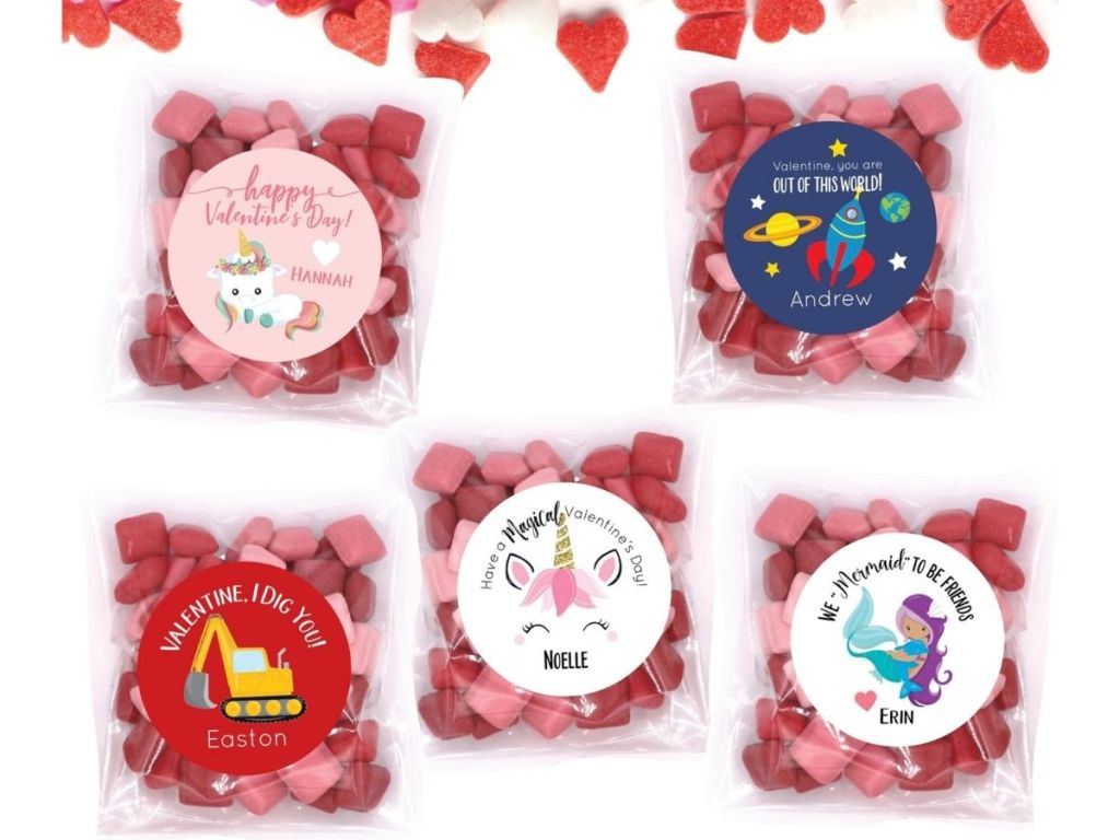 valentines day clear treat bags and personalized stickers