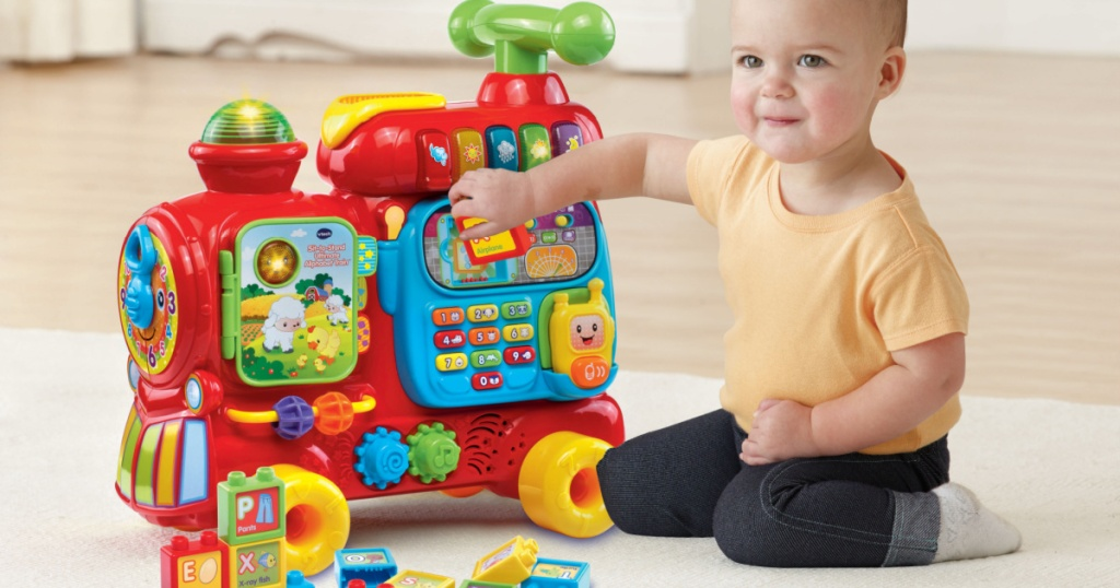 vtech train with baby playing