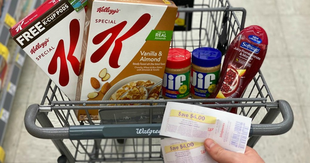 man holding rewards from purchasing cereal and peanut butter at Walgreens