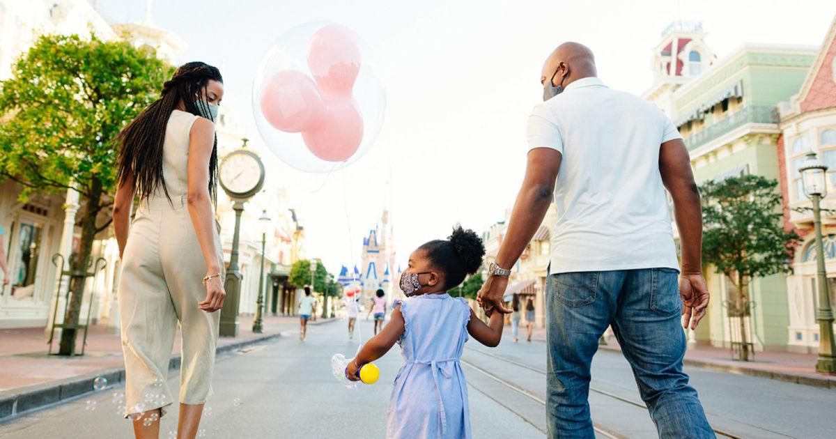family on Main St. USA at Disney World