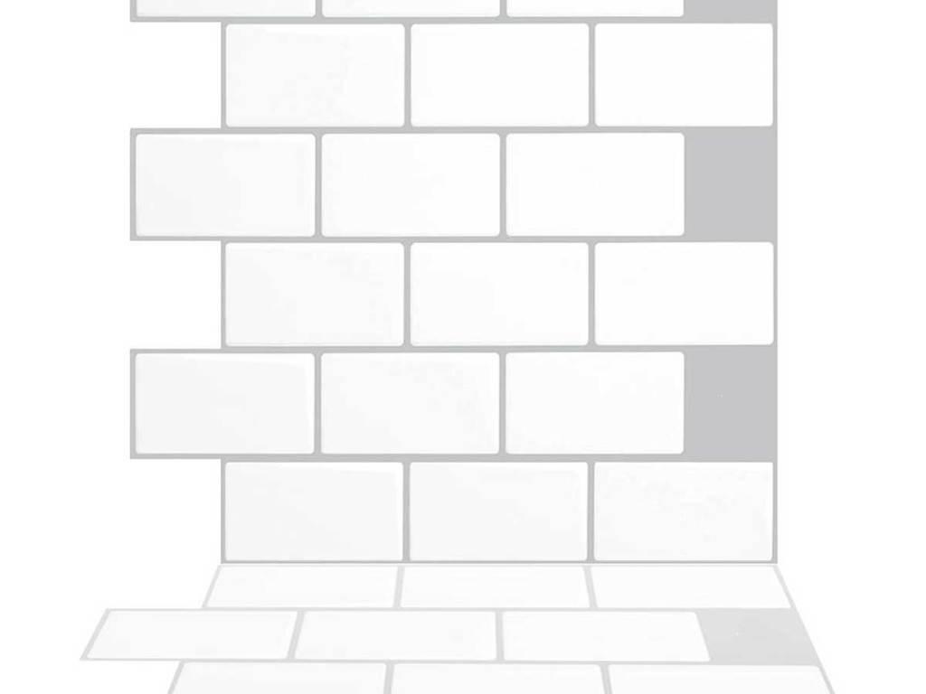 white subway tile stick and peel backsplash