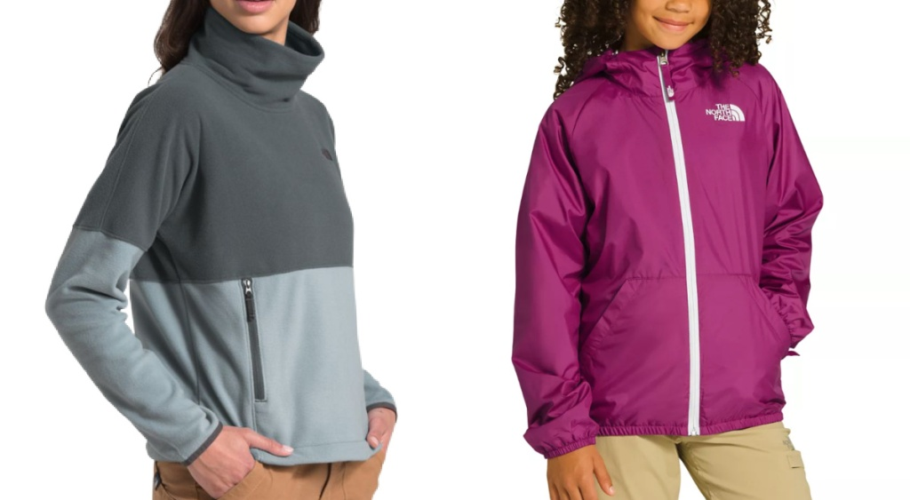 woman wearing grey The North Face pullover and girl wearing pink jacket
