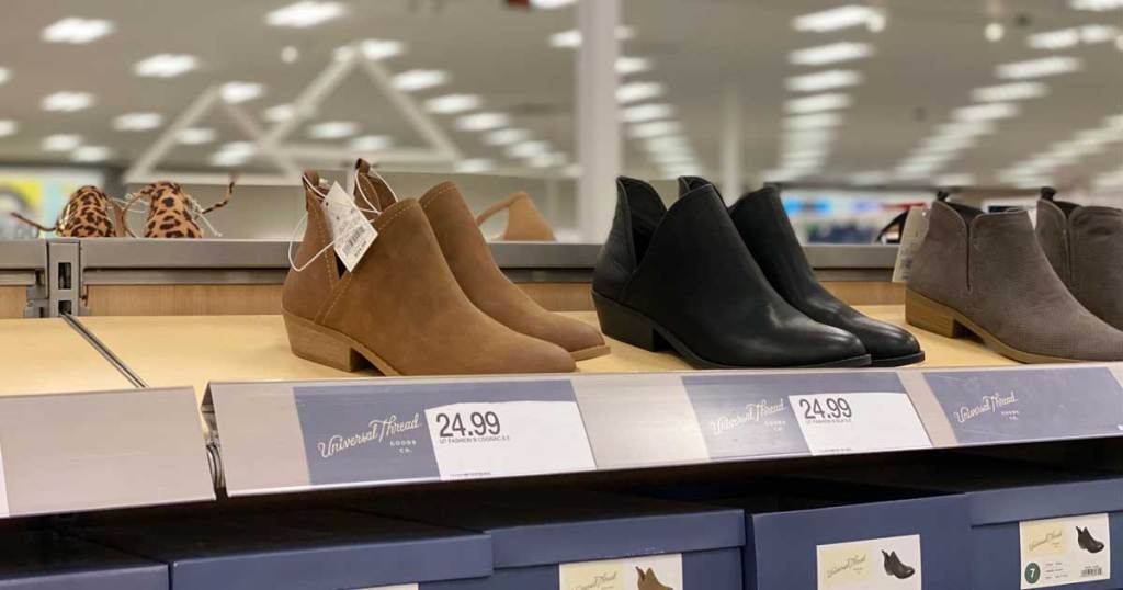 women's ankle boots on display in store