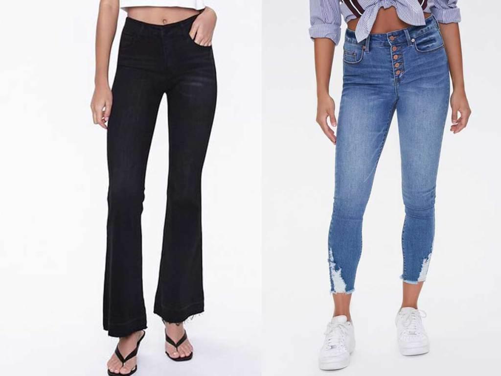 models wearing black and blue denim pants