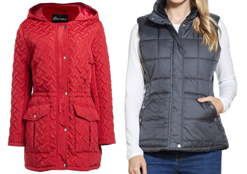 women's red coat and woman wearing grey vest