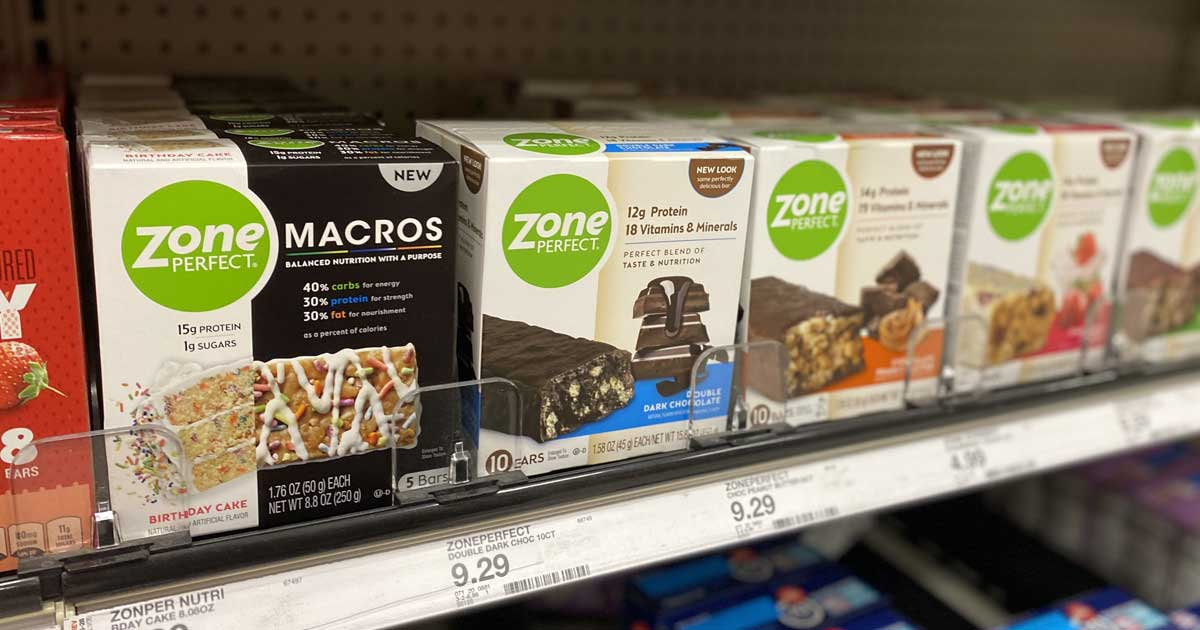 shelf with zone perfect bars on display in store