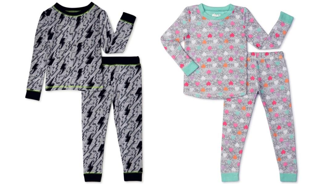 two 2-piece pajama set boys and girls