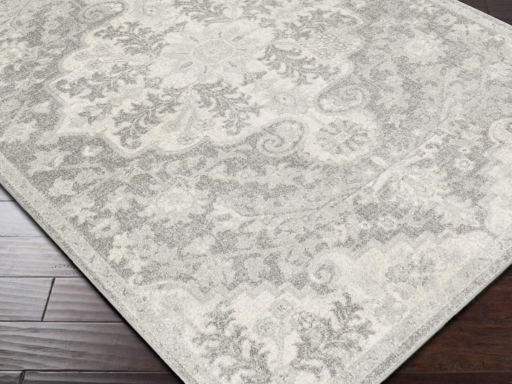 5x7 grey floral area rug