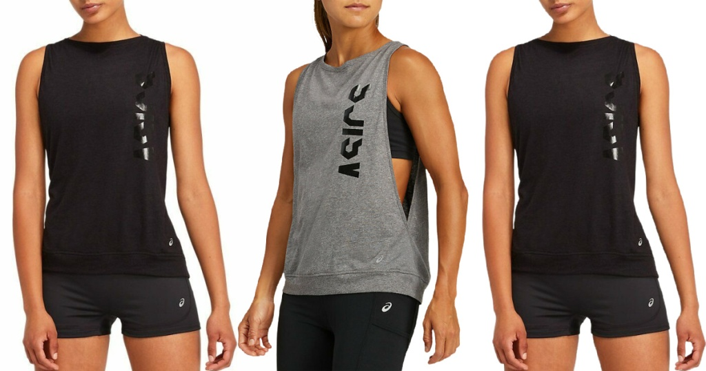 black and grey ASICS Women's Muscle Tank