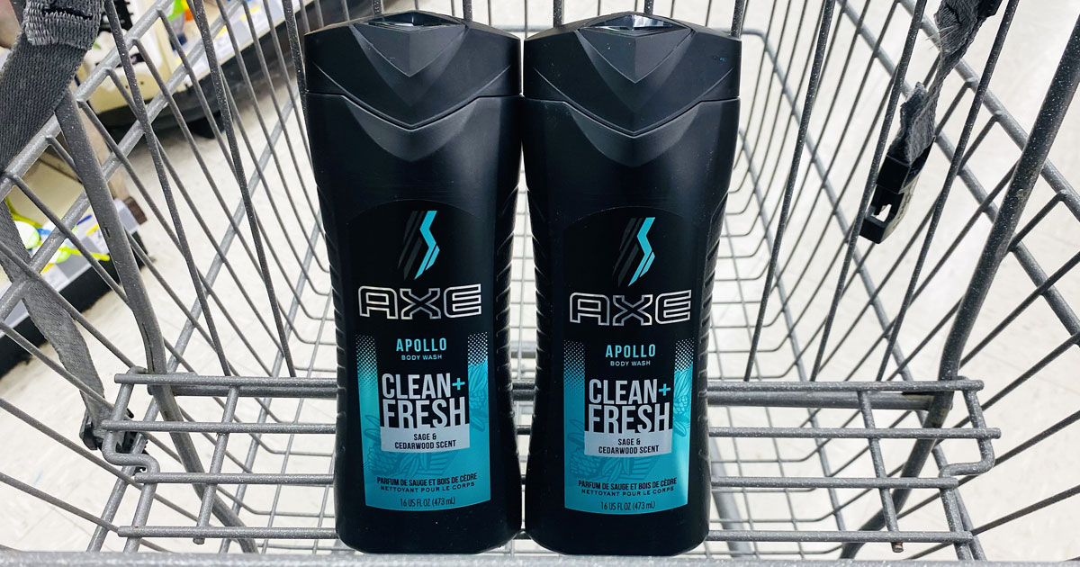 two bottles of axe body wash in a shopping cart