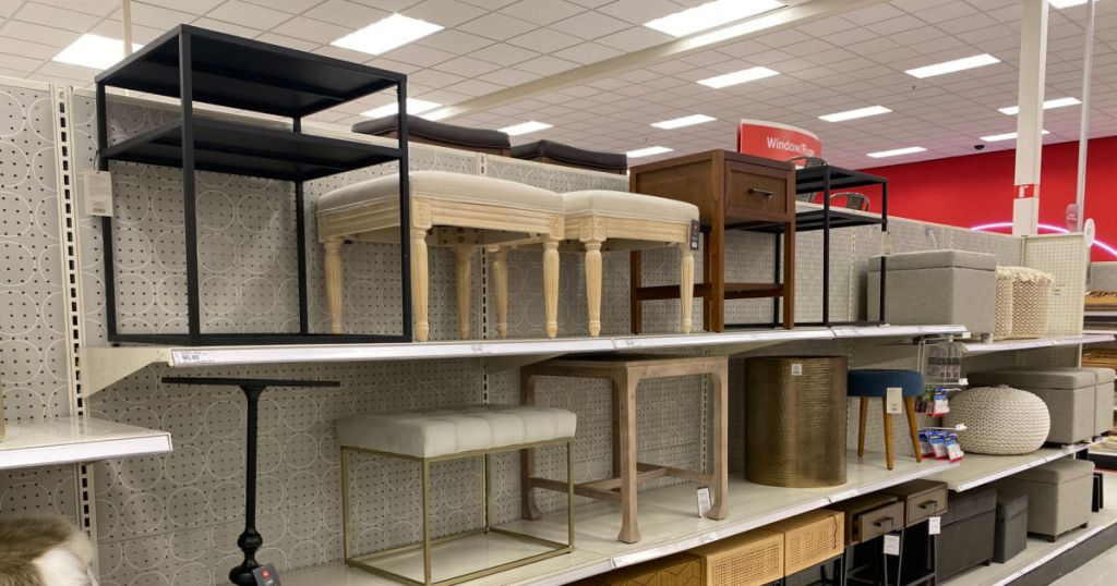 accent tables on shelf