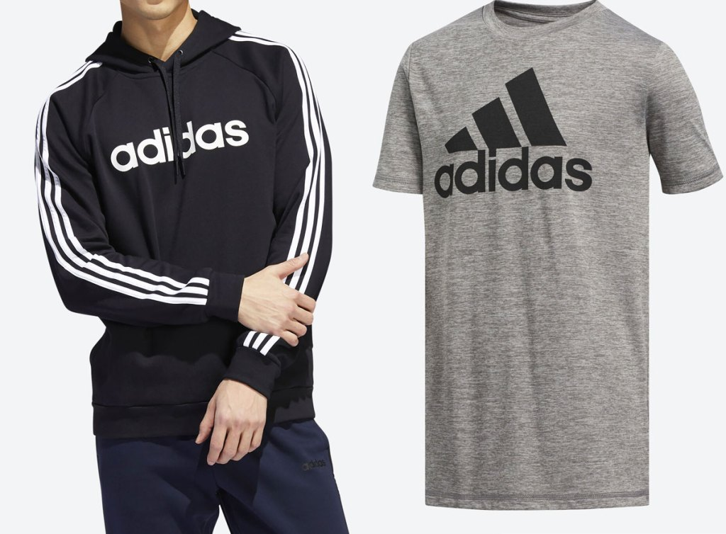 man in black and white adidas hoodie and grey and black adidas tee