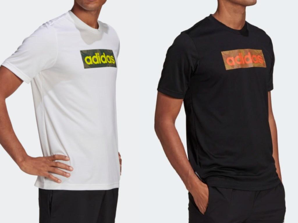 2 men wearing adidas graphic tees