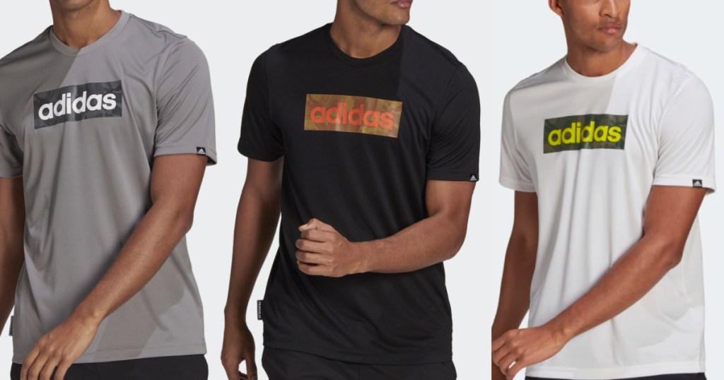 3 men wearing adidas graphic tees