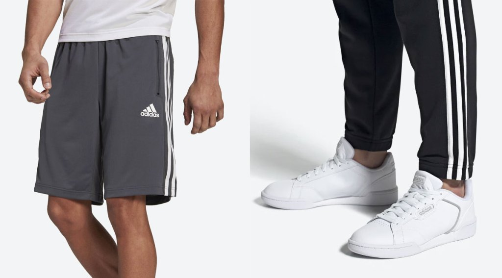 man in grey and white adidas shorts and man wearing white adidas shoes