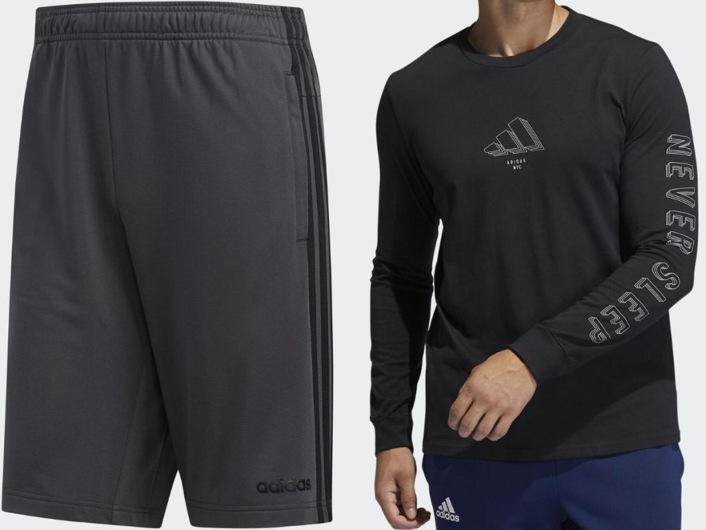 Adidas men's mesh shorts and long sleeve shirt