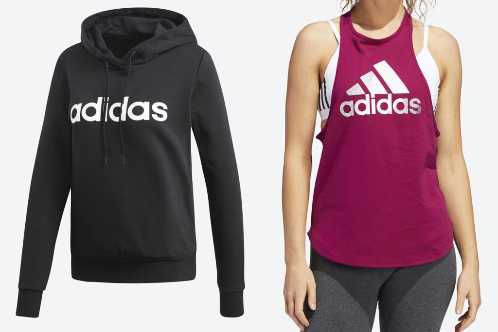 black and white adidas hoodie and woman in pink adidas tank top