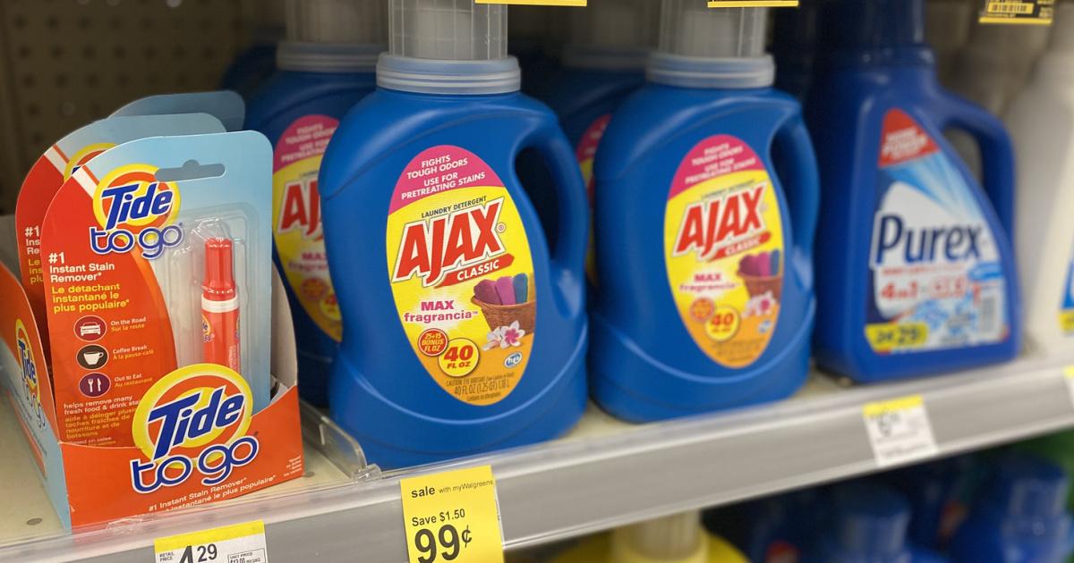 Ajax Laundry Detergent on walgreens shelf